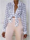 Checked Long Sleeved Blouse