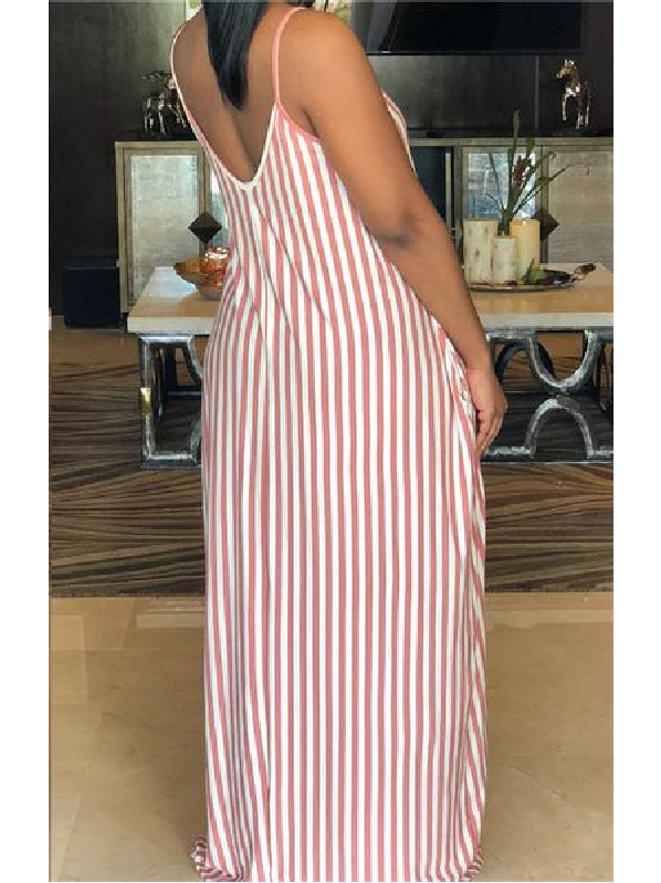 Coral Stripe Slouchy Dress