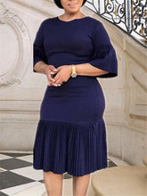 Load image into Gallery viewer, Bell Sleeve Pleated Bodycon Dress