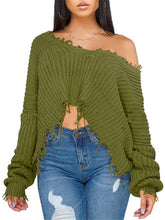Load image into Gallery viewer, Destroyed One Shoulder Sweater (1446162497581)