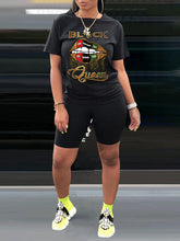 Load image into Gallery viewer, Black Queen Tee & Biker Shorts Set