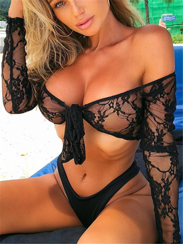 Front Knot Lace Swimsuit