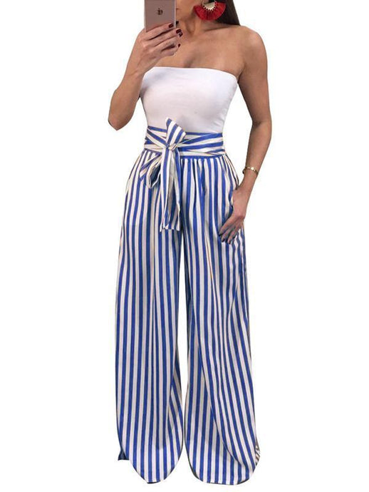 Bottoms - Bow Tie Striped Wide Leg Pants