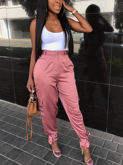 Bottoms - Pink Tied Ankle Pants