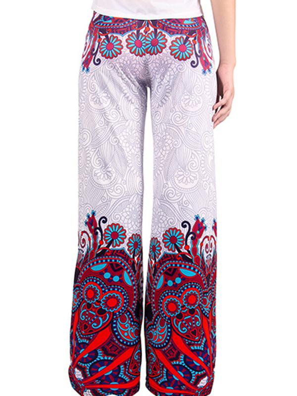 Bottoms - Printed Wide Leg Pants