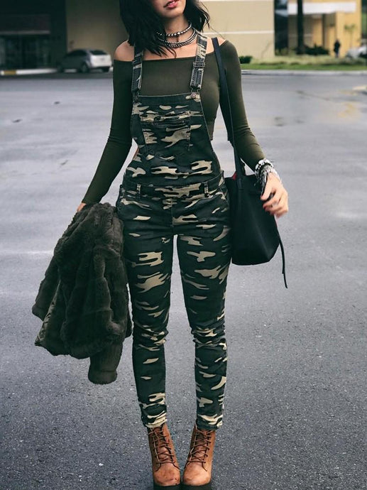 Bottoms - Stylish Camouflage Pocket Front Overalls