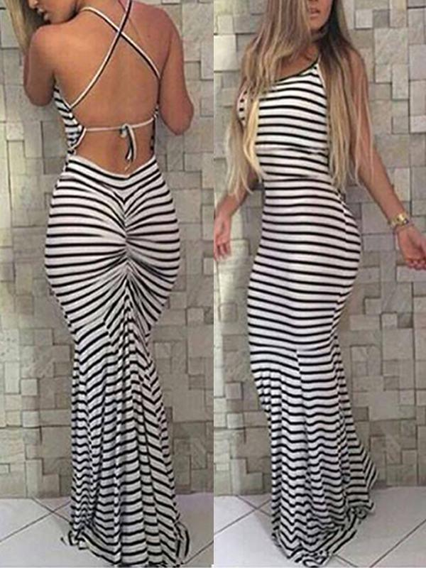 Dresses - Backless Halter Striped Bodycon Dress