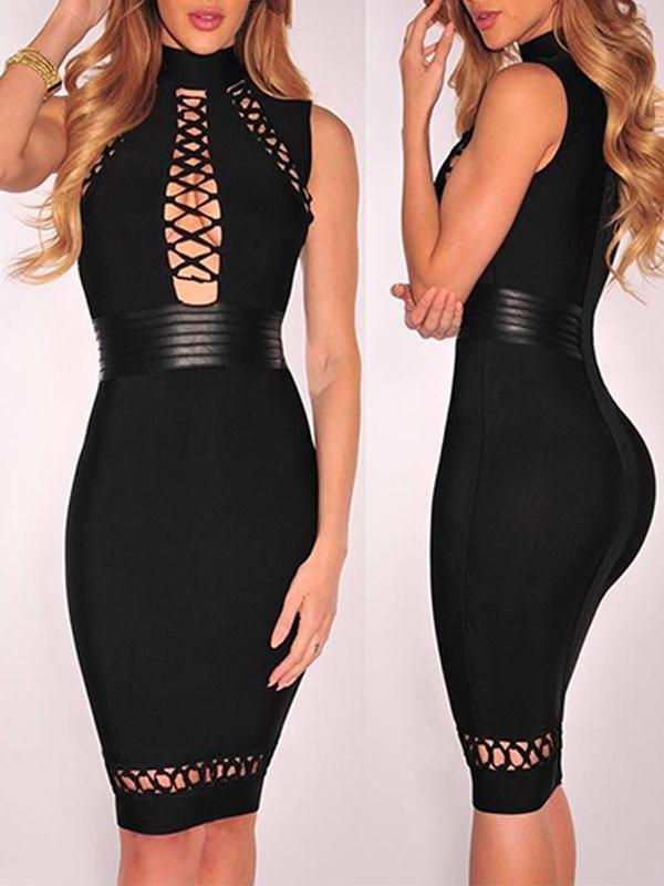 Dresses - Black Choker Hollow Out Tight Dress