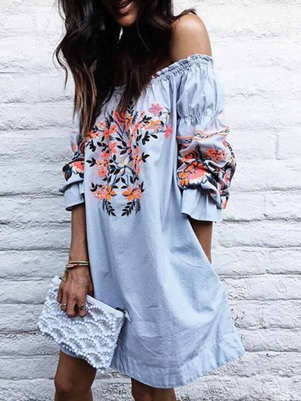 Dresses - Blue Frill Off Shoulder Floral Dress