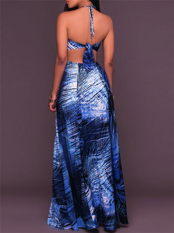 Blue Printed Halter Slit Dress
