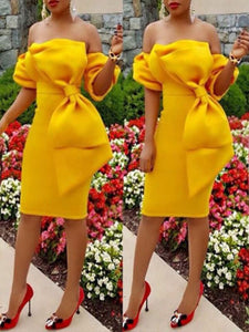 Dresses - Bowknot Patchwork Bodycon Dress