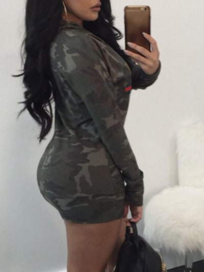 Dresses - Camouflage Long Sleeve Dress