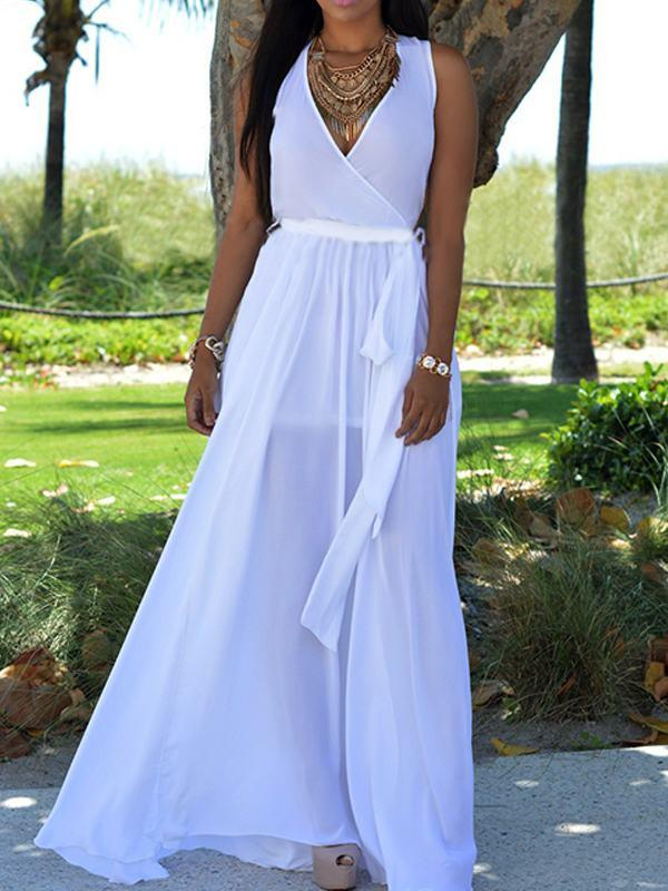 Dresses - Chiffon Wrap Over Maxi Dress