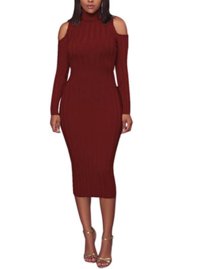 Dresses - Cold Shoulder Long Sleeve Ribbed Dress
