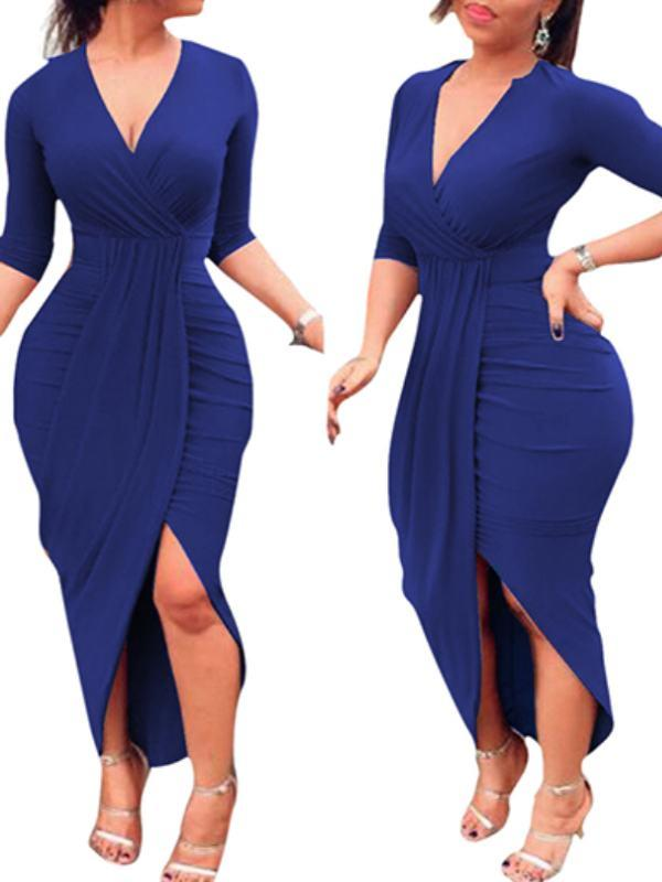 Dresses - Deep V Tulip Slit Bodycon Dress