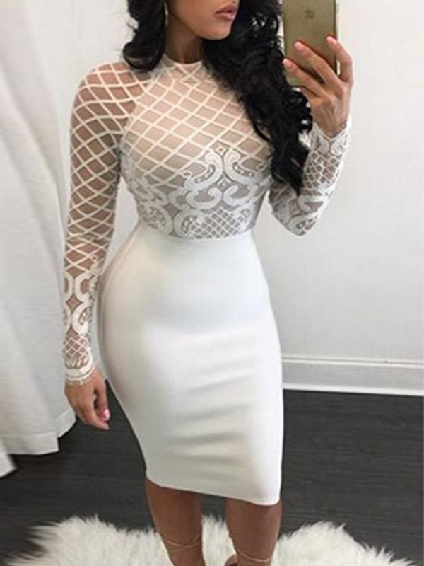 Dresses - Fishnet Lace Midi Dress