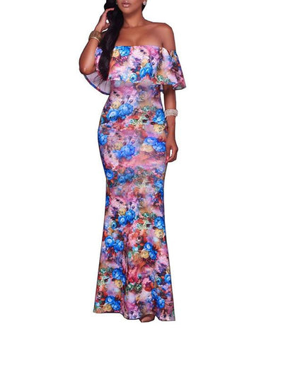 Dresses - Floral Bardot Flounce Mermaid Dress