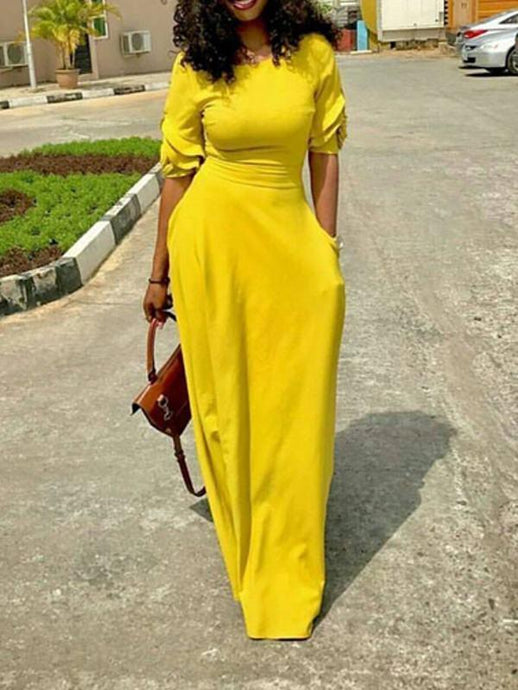 Dresses - Half Sleeve Solid Color Dress