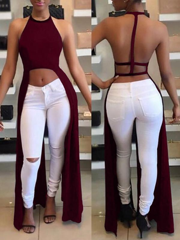 Halter Backless Slit Dress