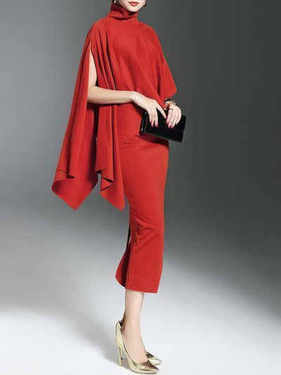 Dresses - High Neck Cloak With Bodycon Dress