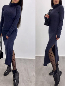 Dresses - High Neck Knit Bodycon Dress
