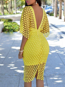 Dresses - Lace Up Bodycon Cloak Dress