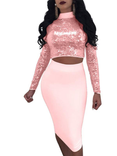 Dresses - Lace Up Sequin Crop Top Midi Dress