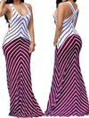 Dresses - Navy & White Chevron Stripe Maxi Dress
