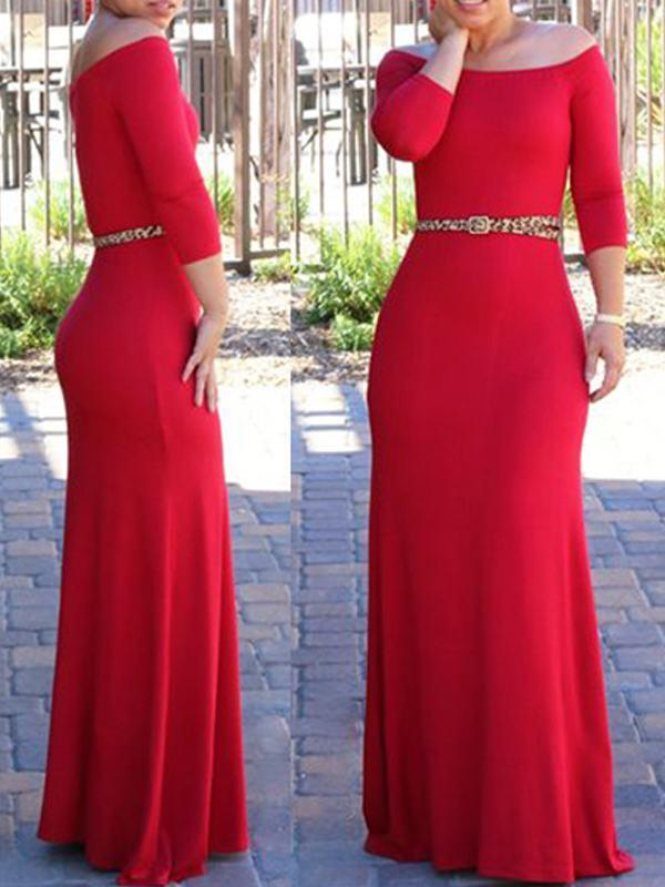 Dresses - Off Shoulder High Waist Three Quarter Sleeve Maxi Dress