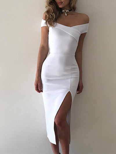 Dresses - Off Shoulder Open Back Bodycon Dress