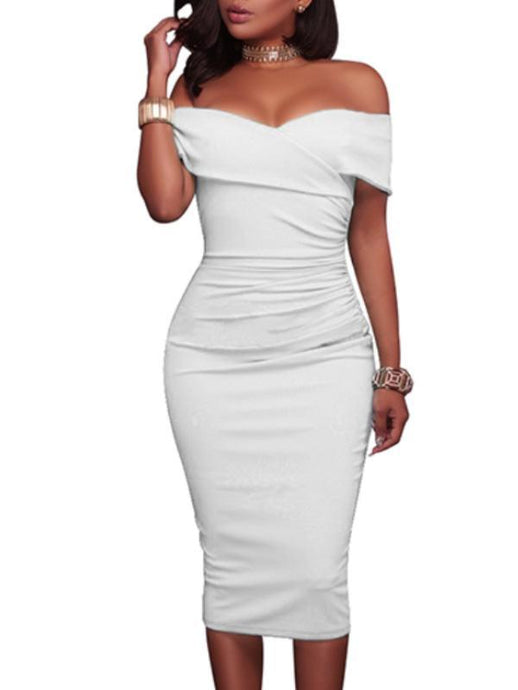 Dresses - Off Shoulder Plain Bodycon Dress