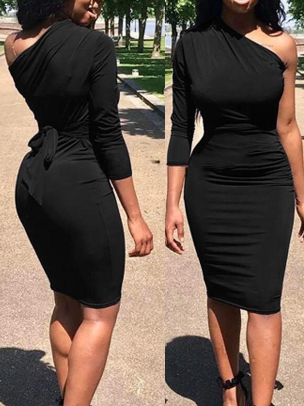 Dresses - One Shoulder Belted Bodycon Dress