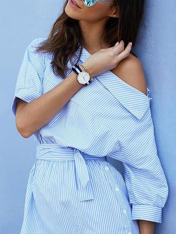 Dresses - One Shoulder Pinstripe Shirt Dress