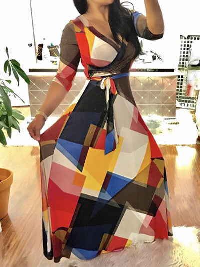 Dresses - Patchwork Print Geometric Maxi Dress