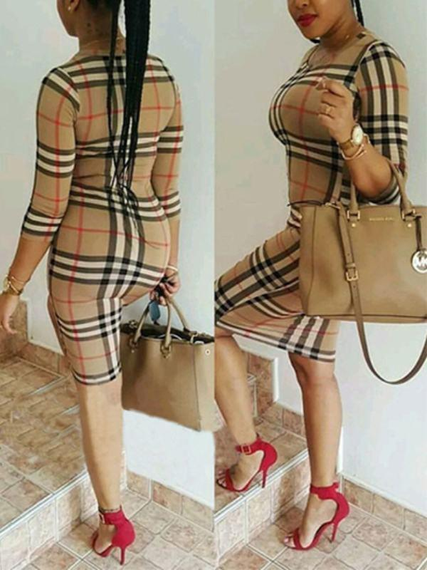 Dresses - Plaid Round Collar Bodycon Dress