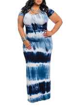 Load image into Gallery viewer, Dresses - Plus Size Round Neck Striped Dress (9187378187)
