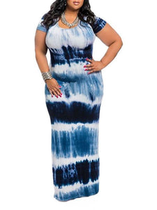 Dresses - Plus Size Round Neck Striped Dress (9187378187)