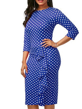 Load image into Gallery viewer, Dresses - Polka Dot Pleated Detail Midi Dress