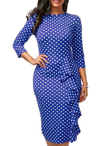 Dresses - Polka Dot Pleated Detail Midi Dress