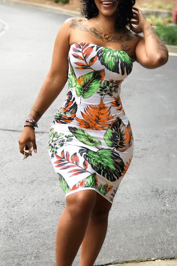 Dresses - Printed Bandeau Bodycon Dress