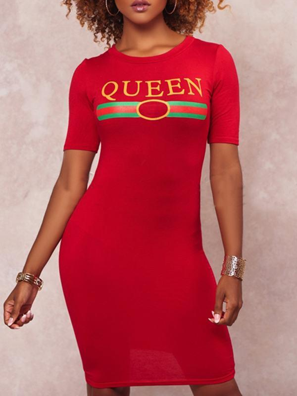 Dresses - Queen Short Sleeve Slinky Dress