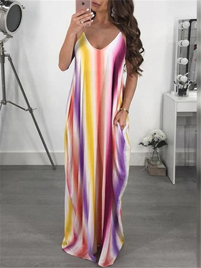 Dresses - Rainbow Stripes Strappy Dress