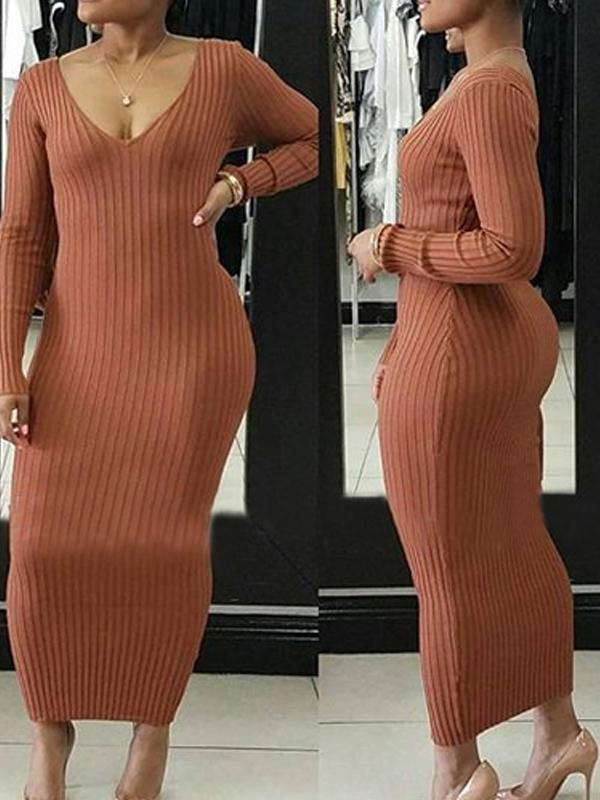 Dresses - Rib V Neck Long Sleeve Solid Color Bodycon Dress