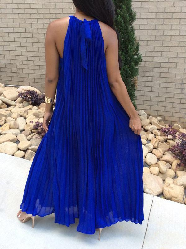 Dresses - Sleeveless Pleated Solid Maxi Dress