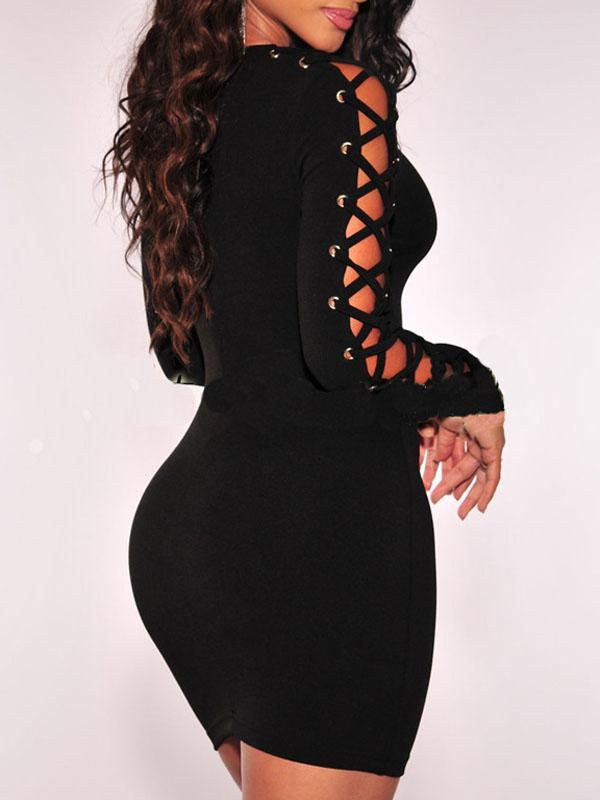 Dresses - Solid Long Sleeve Bodycon Dress