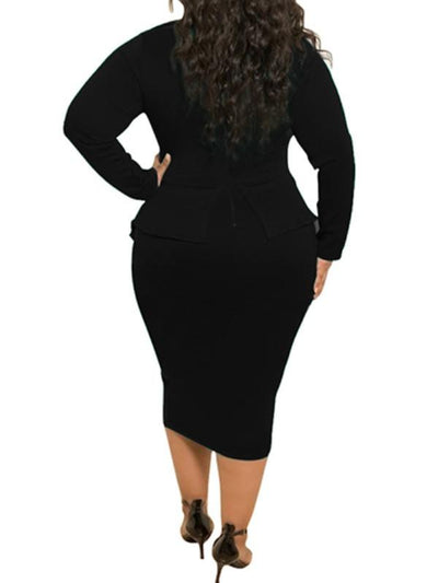 Dresses - Solid Plus Size Midi Dress