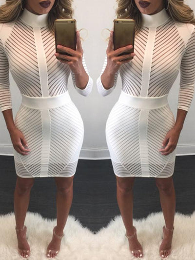 Dresses - Striped High Neck White Bodycon Dress