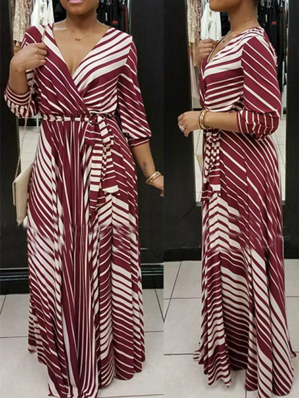 Dresses - Striped Wrap Dress With Belt
