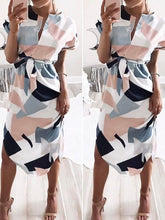Load image into Gallery viewer, Dresses - V Neck Print Patchwork Dress