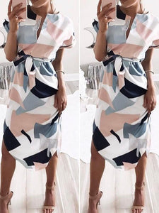 Dresses - V Neck Print Patchwork Dress